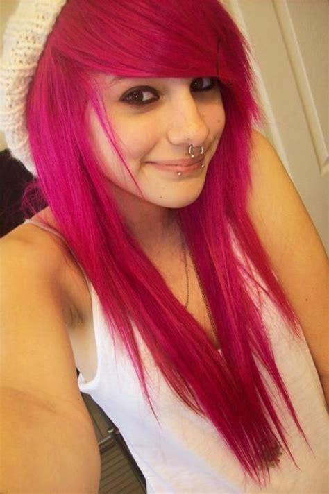 Hot Pink Hair As Pink Hair Girl Eyeliner Piercings Cute