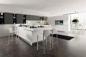 cuisine blanche avec ilot central modern aatl With meuble de cuisine ilot central 0 cuisine leicht et lineaquattro
