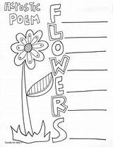 Acrostic Poetry Poem Poems Coloring Pages Classroom Printables End Printable Cute Writing Flower Templates Classroomdoodles Doodles Books Summer Flowers Template sketch template