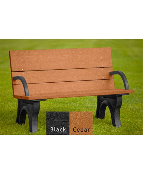 Traditional Benches by Traditional Bench With Back Arms Recycled Plastic