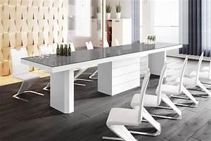 Esstisch Weiß Grau : design esstisch he 444 grau wei hochglanz ausziehbar 160 223 286 349 412 cm hochglanz ~ Markanthonyermac.com Haus und Dekorationen