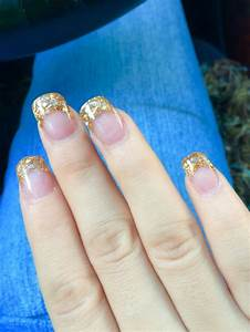 Gold acrylic nails| French tip nails| glitter| gold ...