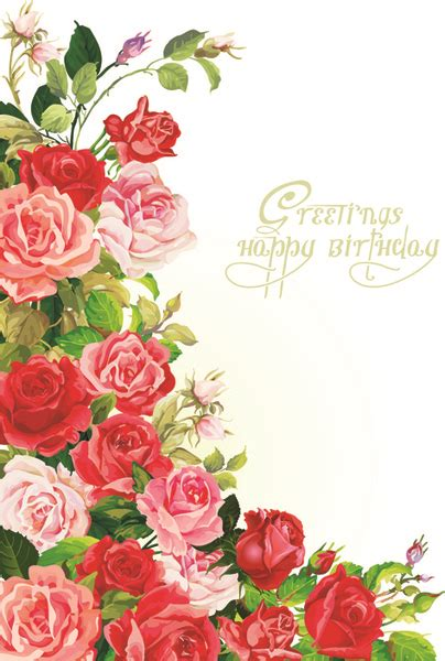 happy birthday flowers greeting cards  vector