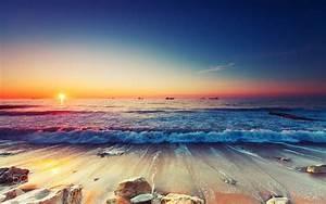 Sunrise, Over, The, Horizon, Sea, Ships, Sandy, Beach, Waves