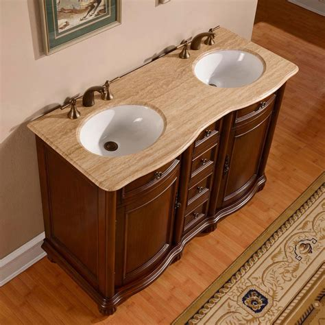 52 quot traditional double sink bathroom vanity travertine