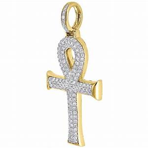 Diamond Ankh Cross Pendant Yellow Gold Egyptian Charm w ...