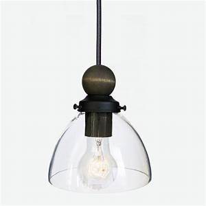 Hand blown quot clear glass and wood pendant light black
