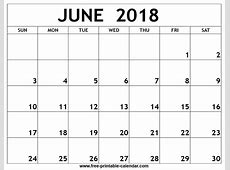 June 2018 Calendar – printable calendar templates