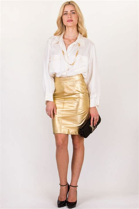 Vintage Gold Leather Pencil Skirt Size 38 Fit S