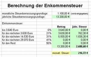 Einkommensteuer Selbstständige Berechnen : arbeiten mit excel ~ Themetempest.com Abrechnung