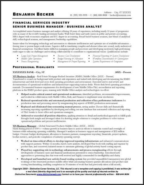 Business Analyst Resume Template by Business Analyst Sle Resume Page 1 Project