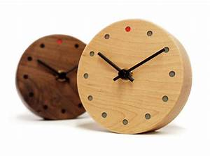 Mini Round Wall Clock In Maple Wood Fox And Monocle