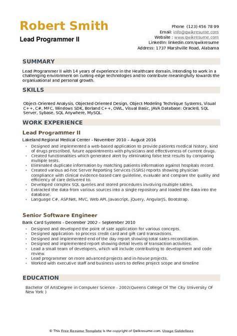 lead programmer resume samples qwikresume