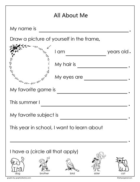 9 Best Images Of Aboutme Worksheets Printable  All About Me Worksheets Printables, All About