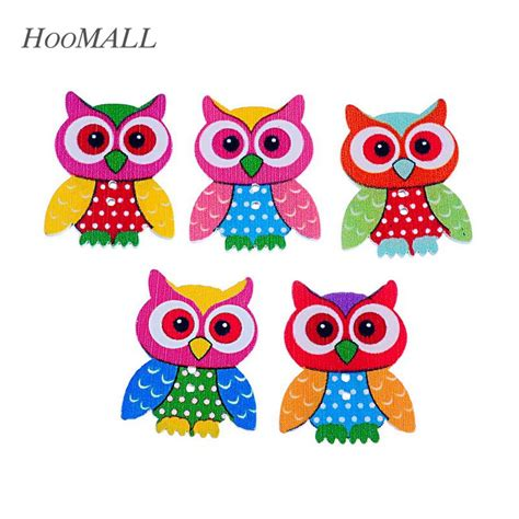 Hoomall Brand 20pcs 2 Holes Owl Wooden Buttons Sewing