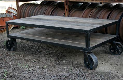 Industrial Wheeled Coffee Table  Coffee Table Design Ideas