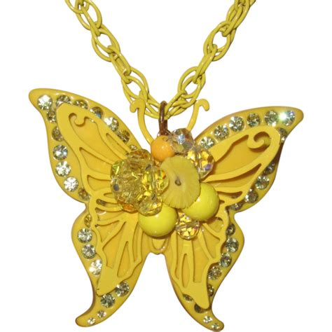 retro l yellow retro 1970 yellow butterfly pendant large from phalan on