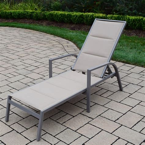 chaises aluminium oakland living padded sling aluminum chaise lounge in