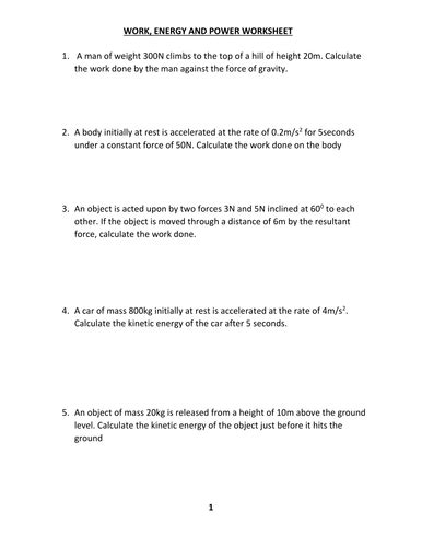 high school worksheet work and power problems work energy and power worksheet with answer by