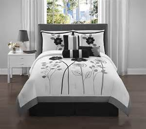 7pc victoria classics adrienne queen comforter set black and white floral bed ebay