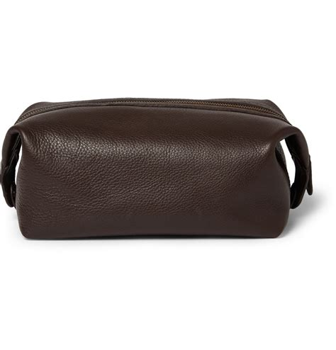 lyst polo ralph leather wash bag in brown for