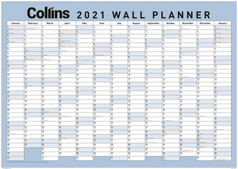 In the table below, you will find the details of the holidays and when they are observed. Collins Large Laminated 2021 Wallplanner | Paper Plus