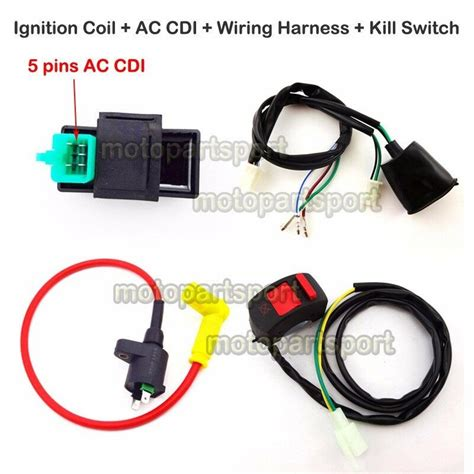 ignition coil ac cdi wiring loom harness kill switch for 50 160cc pit dirt bike ebay