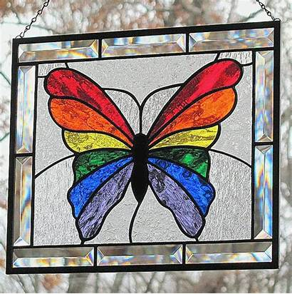 Stained Glass Butterfly Rainbow Faux Patterns Mosaic