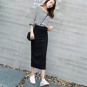 Aliexpress.com  Buy 2016 Brand New Autumn Women Long Skirts Black Package Hip Skirt Korean ...