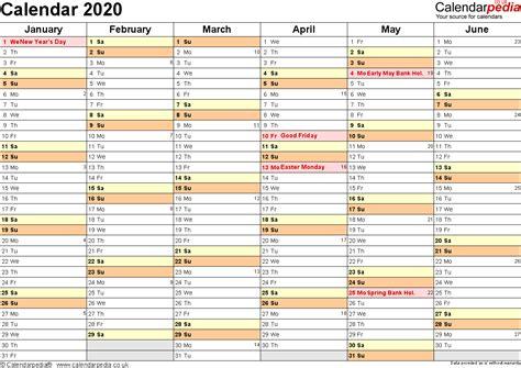 Calendar 2020 Printable One Page
