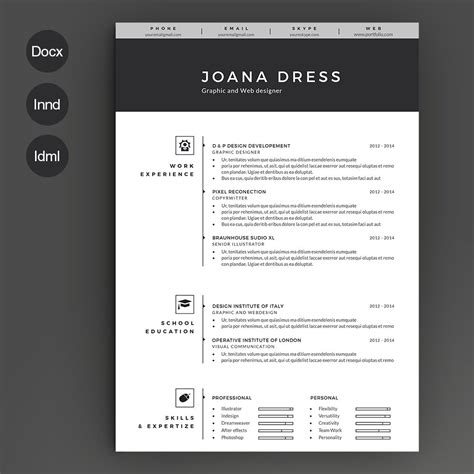 Pages Resume Templates by Resume Template 2 Pages Resume Templates Creative Market