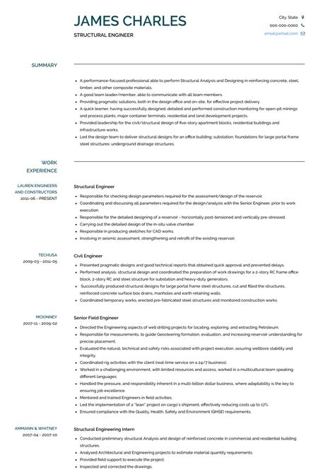 Engineer Resume by Structural Engineer Resume Sles And Templates Visualcv