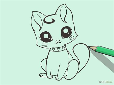 draw  cute cartoon cat litle pups
