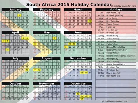 calendar south africa including public holidays
