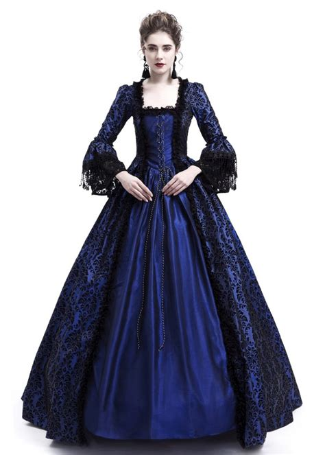 blue ball gown victorian costume dress   roseblooming