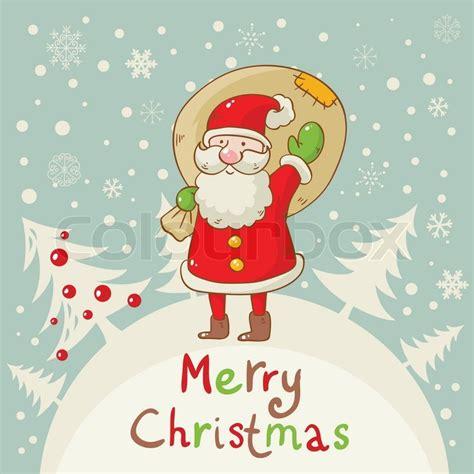 merry christmas card  cute santa stock vector