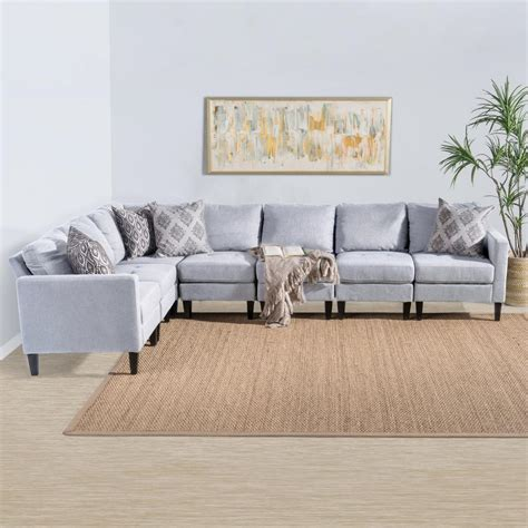 Light Gray Sectional Sofa by Noble House 7 Light Gray Tufted Fabric Sectional