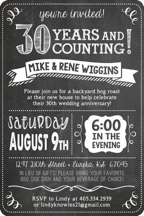 Unique Ideas For Anniversary Party Invitations Designs