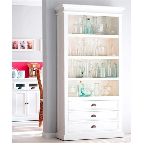Wide White Bookcase by Halifax White Bookcase 3 Drawers Akd Furniture