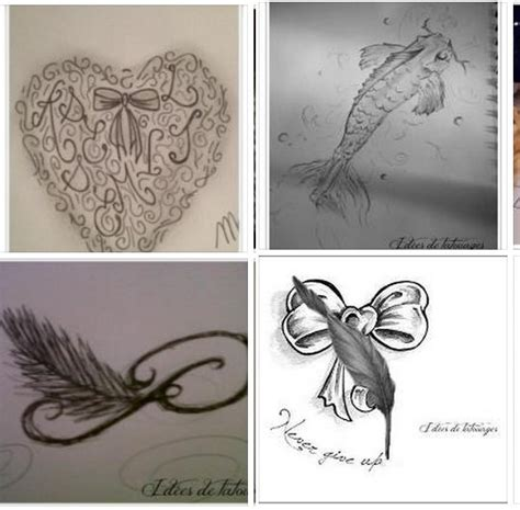 modele tatouage poisson coeur lacets noeuds plume lettre p