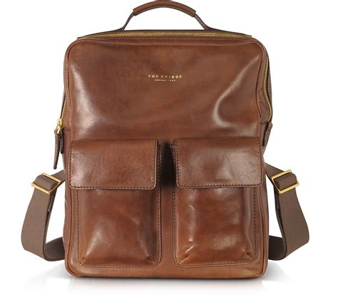 the bridge sfoderata marrone leather backpack at forzieri