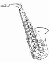 Saxophone Coloring Jazz Alto Musical Instrument Drawing Clarinet Printable Clip Saksofon Instruments Template Sheet Fm Supercoloring Harlem Renaissance Printables Jing sketch template