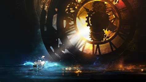 wallpaper piano steampunk clock kid hd creative