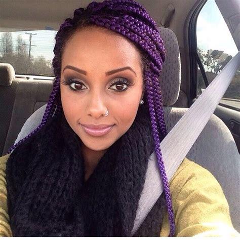Purple Box Braids Hair Colors Ideas
