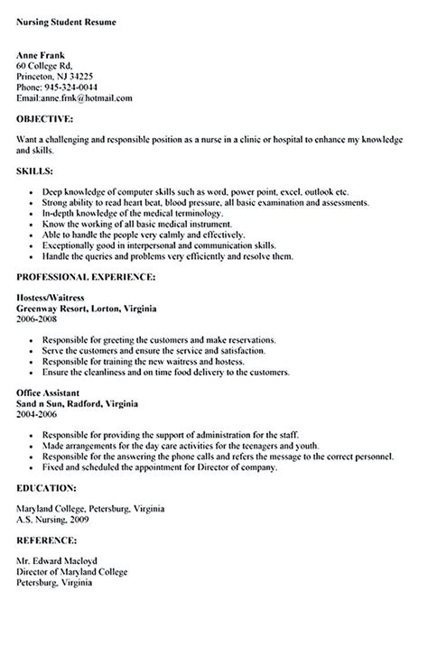 nursing student skills for resume sle nursing student resume nursing student resume must contains relevant skills experience