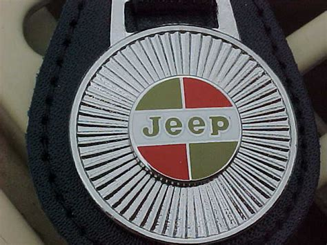 kaiser jeep logo kaiser jeep silver starburst leather key fob mint top