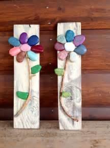 Rock Art On Wood Ideas Flowers