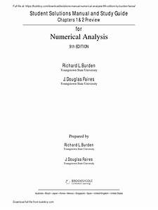 Numerical Analysis  Student Solutions Manual And Study
