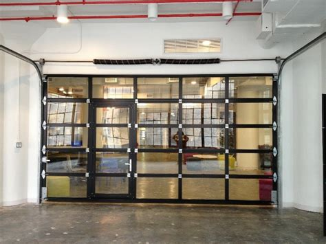 clear plastic roll up garage doors ny loft black aluminum garage door clear glass with