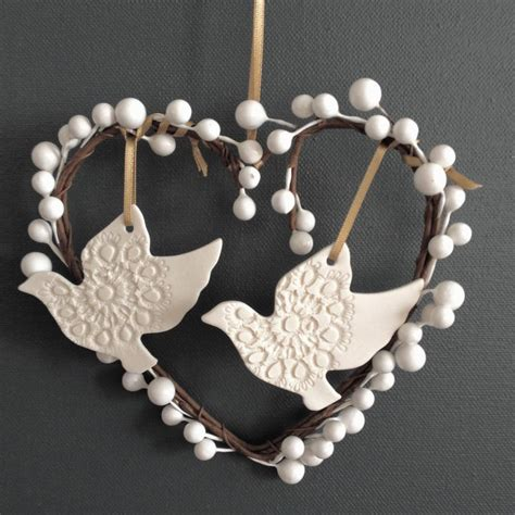 personalised turtle doves christmas decoration by abby
